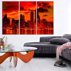 Large Wall Art Canvas Print - Manhattan City Skyline Landscape Canvas Print - Canvas Art New York City - 3 Panel Large Canvas Print
