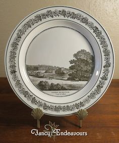 Antique Creil French Creamware Plate of English Scene Trentham Hall Staffordshir #Creil