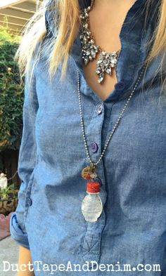 Salt shaker necklace and statement necklace with chambray shirt | DuctTapeAndDenim.com