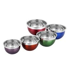 VonShef Premium 5 Piece Stainless Steel Multi Colored Mixing Bowl Set