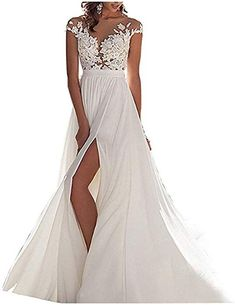 117ef473c8a Amore Bridal Womens Illusion Neckline Lace Beach Wedding Dresses Slit Cap  Sleeves Pink 16    Check this awesome product by going to the link at the  image.