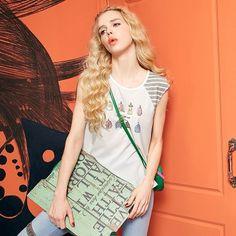 Elf Sack female summer printing striped stitching round neck short-sleeved chiffon women T-shirt  elfsack