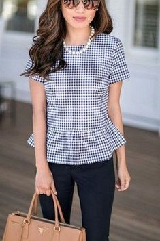 peplum top + navy pants + camel work tote = classic business casual office outfit Sharing a business casual work outfit that is easy to recreate and can transition easily from work to casual wear. Classy Outfits, Cute Outfits, Casual Preppy Outfits, Fashionable Outfits, Night Outfits, Summer Business Casual Outfits, Summer Office Outfits, Women Business Casual, Business Casual Hairstyles