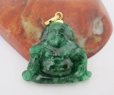 Vintage 14K Solid Yellow Gold Natural Emerald Green Jadeite Jade Carved Laughing Buddha Pendant by wandajewelry2013 on Etsy
