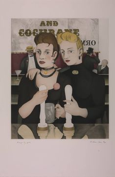 """Richard Hamilton, """"Bronze by Gold"""", 1985-7. Etching, aquatint, engraving on paper. Illustration for the Sirens chapter of James Joyce's """"Ulysses""""."""