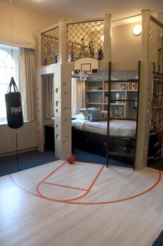 what an amazing little boy room. I want to have a little boy who is the bball star I will never be! :) lol