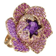 Amethyst, sapphire, diamond and gold ring by Isabelle Langlois♥