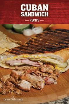 This recipe packs a ton of flavor into a single sandwich with fresh mojo sauce, yellow mustard, pickles, smoked pork loin, and more. Cuban Sandwich, Best Sandwich, Sandwich Recipes, Flat Top Grill, Types Of Pizza, Camp Chef, Cast Iron Recipes, Smoked Pork, Pork Loin