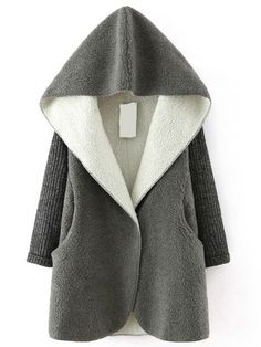 Grey Hooded Sweater Long Sleeve Loose Coat - from shein.com Fall fashion and warm issue