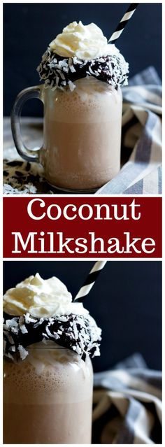 A coconut milkshake made with chocolate sauce and coconut milk is the ultimate coconut chocolate treat. This milkshake recipe for you to keep on hand! Healthy Chocolate Milkshake, Coconut Milkshake, Homemade Milkshake, Milkshake Recipes, Chocolate Treats, Coconut Chocolate, Chocolate Recipes, Milkshakes, Chocolate Lovers
