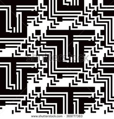 Seamless Abstract Maze Geometric Pattern for Textile Design