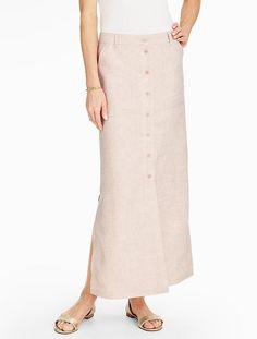 Madison Linen Side-Slit Maxi Skirt