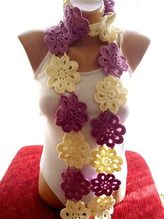 White and lilac Crochet Flower Scarf, lace scarf, accessory, gift for her, gift for her      Shipping: I will usually ship your item within 3