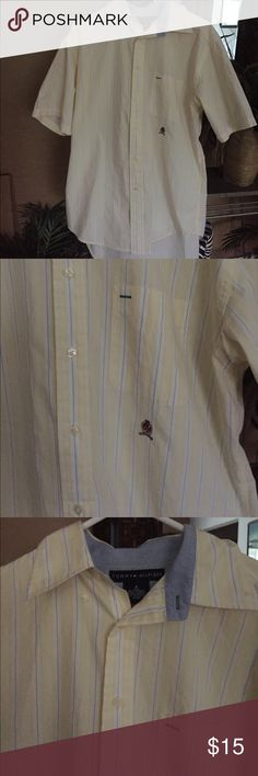 Tommy Hilfiger vintage men shirt A basic yellow with white and blue stripes men shirt in good used condition. Tommy Hilfiger Shirts Casual Button Down Shirts
