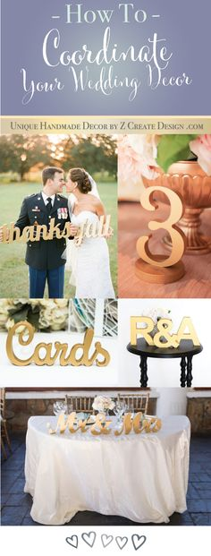 How to coordinate your wedding decor - gold table numbers and gold accents for your special day! | Handmade Decor by Z Create Design at www.ZCreateDesign.com