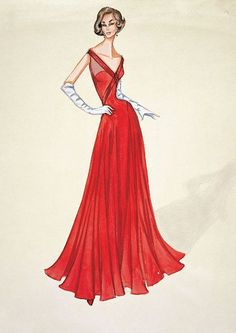 """1950. Drawing from Valentino Garavani. """"I start everything with a drawing, it is the way I think, long before I touch a pattern or cut into a fabric. All my ideas come from the pencil."""""""