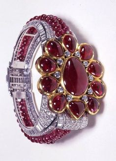 Cartier London Art Deco Diamond Ruby Bracelet 1937 by Clive Kandel