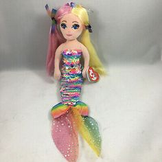 From the Ty Sea Sequins collection. Ty Beanie Boos, Tiny Treasures, Spongebob, Mermaid, Plush, Disney Princess, Toys, Disney Characters, Fun