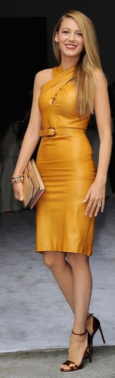 10eff3fe85 Blake Lively stuns in a mustard yellow