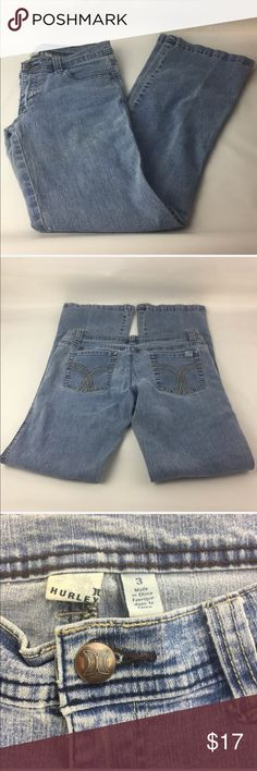 """Hurley Women's Juniors Jeans Size 3 Boot cut Jeans are free of stains, rips, or fraying. Boot cut . Button and zipper closure. Five pocket styling. light medium wash Insem: 29"""" Tag size 3. Hurley Jeans Boot Cut"""