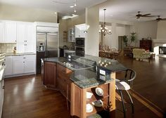 kitchen with open floor plan--like the height; don't like bar seating
