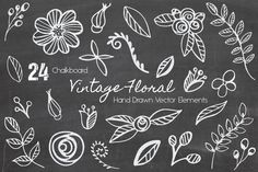 Vector Chalkboard Vintage Floral by Kaerie Out Creative on @creativemarket