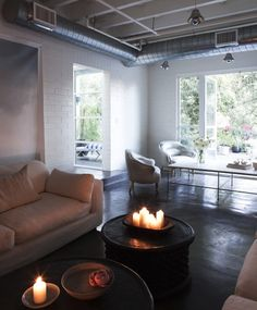 indoor #firepit anyone? ya. the definition of my dream house. #white  amy neunsinger and shawn gold's home