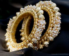 Moti Royal Gold - This bangle features stones, beads, ghungroos and woolen embellishments in quaint patterns Bridal Bangles, Bridal Jewelry Sets, Gold Bangles, Bangle Bracelets, Indian Bangles, Bridal Jewellery, Necklaces, India Jewelry, Ear Jewelry