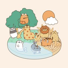 Pusheen and friends having some cool and relaxing fun,!