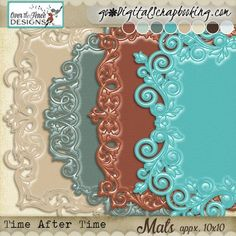 Time After Time Mats Time After Time has a palette of bright aqua mixed with rust and dark chocolate, then softened with muted teal, beige, cream, ice blue and glacier green. The collection is perfect for scrapping heritage or contemporary images and lends itself to pocket and traditional scrapping styles.