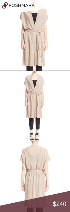 """Vince Wool Cashmere Texture Stitch BeltedCardigan Retail $375.00 NWT. Price Firm. A sumptuous blend of wool and cashmere with subtle ribbed texture makes this longline cardigan a chic and cozy layer for cool-weather days. 35"""" length (size Medium). Surplice wrap. Extended cap sleeves. Self belt tie. Split hem. 70% wool, 30% cashmere. Dry clean or hand wash cold, dry flat. By Vince; imported. Individualist. Item #5086383 Measurements according to brand: Bust: 35 Waist: 28 Hips: 38. #0037…"""