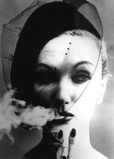 William Klein ~ Smoke and Veil, Paris (Vogue), 1958