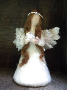 Angel and bird Needle Felted Angel Doll 14cm for by feltingdreams