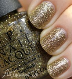 OPI Mariah Carey Holiday 2013   Glitter and Gold Swatches & Review - OPI All Sparkly and Gold