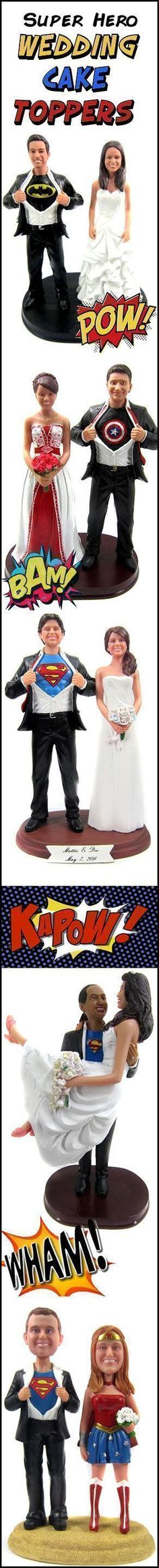 Custom Super Hero Wedding Cake Toppers are sculpted to look like the bride and g - Batman Wedding - Ideas of Batman Wedding - Custom Super Hero Wedding Cake Toppers are sculpted to look like the bride and groom with your choice of hidden identity! Superhero Wedding Cake, Superhero Cake Toppers, Batman Wedding, Comic Wedding, Hockey Wedding, Our Wedding, Dream Wedding, Wedding Stuff, Wedding Things