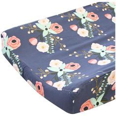 Our Berkeley's Navy & Blush Floral changing pad cover features a fun and playful floral print on a navy background that fits in any modern baby girl's nursery easily. This modern floral changing pad c Coral Navy Nursery, Navy Girl Nursery, Peach Nursery, Harper Nursery, Daisy, Nursery Ideas, Bedroom Ideas, Nursery Inspiration, Navy Background