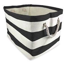 """Lots of colors to choose from. Good to just throw toys into -  $18.99 DII Home Essentials Woven Paper, Collapsible, Convenient Storage Bin For Office, Bedroom, Closet, Toys, Laundry - Large (17"""" Long x 12"""" Wide x 12.5"""" High) in Black Rugby Stripe DII http://www.amazon.com/dp/B00N3R9DTG/ref=cm_sw_r_pi_dp_YaRAwb19V710K"""