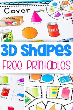 Try this free printable shape activity pack! 4 fun activities for learning about shapes: shape spin & cover, memory game, flip book and picture supported sentence building cards. Kids will love learning about shapes with these hands-on activities! Shape Activities Kindergarten, 3d Shapes Activities, Geometry Activities, Teaching Shapes, In Kindergarten, Fun Activities, Preschool Shape Activities, 3d Shapes Worksheets, Printable Shapes