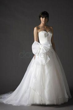 Organza Satin tiefe Taile Tüll Prinzessin Schatz Ausschnitt bodenlanges Brautkleid