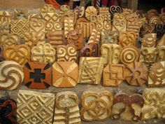 Adinkra stamps for cloth printing - Ghana  Great inspiration for making stamps.