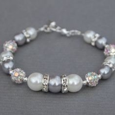 Brides Jewelry, Silver and White Pearl Rhinestone Wedding Bracelet, Modern Bridal Jewelry