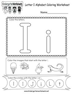 Alphabet Coloring Worksheets for Kindergarten Awesome Letter I Coloring Worksheet Free Kindergarten English Coloring Worksheets For Kindergarten, Writing Practice Worksheets, English Worksheets For Kids, Letter I Activities, Preschool Letters, Learning Letters, Preschool Classroom, Preschool Learning, Teaching