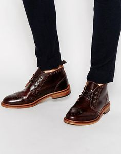 Image 1 of River Island Brogue Chukka Boots in Leather