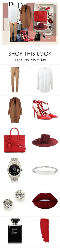 """#Red'n'Nude"" by vitaestspeciosa on Polyvore featuring Balmain, Brunello Cucinelli, Rochas, Valentino, Yves Saint Laurent, Emilio Pucci, Maison Margiela, Ippolita, Lime Crime and Chanel"