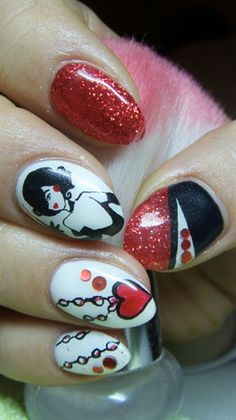 White, black and red nails - Nail Art Gallery