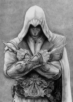The scanner destroyed the contrast, I tried to fix it but Ezio copyright ubisoft Assassins Creed Dibujos, Tatouage Assassins Creed, Assassins Creed Tattoo, Arte Assassins Creed, Tattoo Sketches, Art Sketches, Assassin's Creed Wallpaper, Crazy Wallpaper, Asesins Creed
