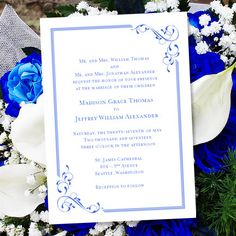Royal blue and silver wedding invitation templates for microsoft printable wedding invitation template elegance royal blue wordc instant download order any color diy you print stopboris Image collections