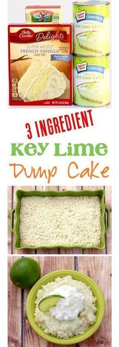 Get your Key Lime fix with this ridiculously EASY 3 Ingredient Cake Mix Dump Cake! This creamy, delicious Key Lime Dessert is always in season! easy 3 ingredients easy for a crowd easy healthy easy party easy quick easy simple Key Lime Desserts, Easy Desserts, Healthy Desserts, Lemon Desserts, Homemade Desserts, Dessert Simple, Dump Cake Recipes, Dessert Recipes, Frosting Recipes