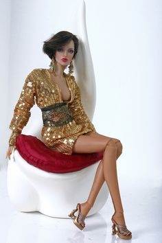 Fashion Doll...Gold Sequin Dress