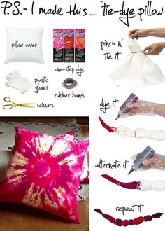 Make Your Own Pretty Tie Dye Pillows – It's So Easy And Fun . Make Your Own Pretty Tie Dye Pillows – It's So Easy and Fun fun easy diys - Easy Diy Crafts Fun And Easy Diys, Easy Diy Crafts, Fun Crafts, Crafts For Kids, Fun Diy, Shibori, Diy Tie Dye Pillow, Diy Pillows, Throw Pillows